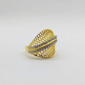 22KT yellow Gold Two Lines of Diamonds Ring For Women