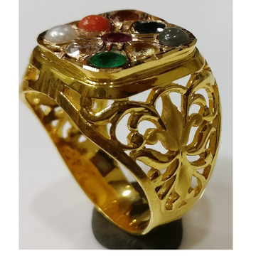 22KT gold close setting navrathan gemstone gents ring nr-002