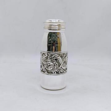 real Silver Bottle in Fine Antique Centre Floral D...