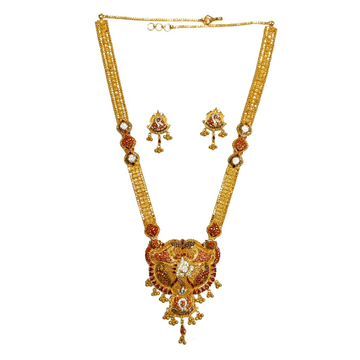 22k Gold Kalkatti CZ Diamond Minakari Necklace Set MGA - GLS046