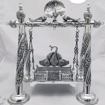 Pure silver jhulla for ladoo gopal in antique po-3...