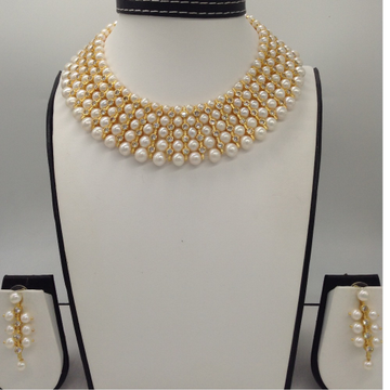 Freshwater White Round Pearls And White CZ Patti 5 Layers Patta Choker Set JPP1034