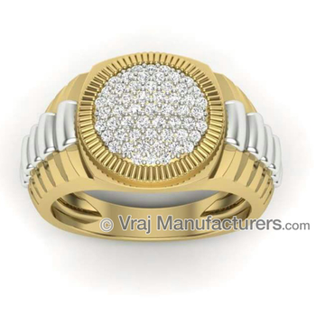 18K Casting Yellow Gold Round Diamond Ring For Men