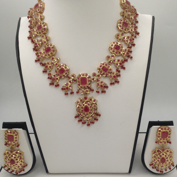 Red CZ Stones Traditional Necklace Haar Set JNC0031