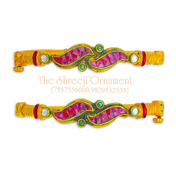 916 Gold Pink Stone Jadtar Kadali Bangle - 0007