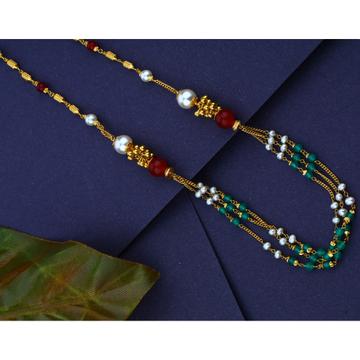 916 gold Hallmark Mani Moti Multi Colour Mala