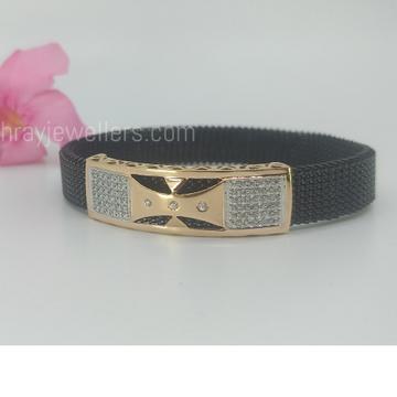 Gold Bracelet unisex with stretchable black belt by