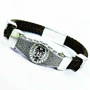 New 925 Silver Gents Leather Bracelet