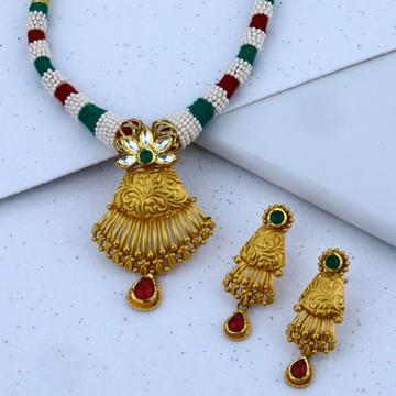 916 cz gold charming necklace set