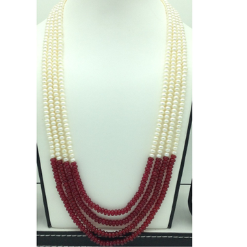 Freshwater WhitePearls with RedSemi Beeds Neckla...