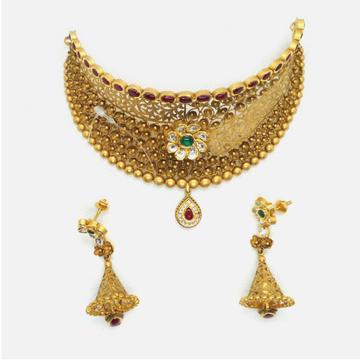 22KT Gold Antique Bridal Choker Necklace Set RHJ - 4969