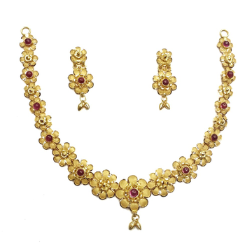 916 Gold Multi Flowers Necklace Set MGA - GN054