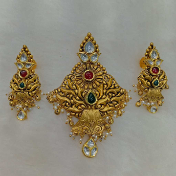 916 Gold Antique Pendant Set Aps-008