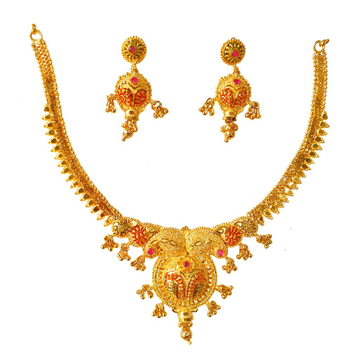 One Gram Gold Forming Designer Necklace Set MGA - STE0107