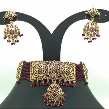 Red Ruby Amritsar Choker Set With 6 Line Red Beeds...