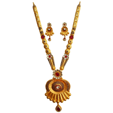 22K Gold Antique Bridal Long Necklace Set MGA - GL...