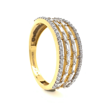 18kt / 750 Yellow Gold Classic Band Diamond ring for Ladies 9LR253