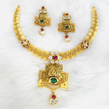 916 Gold Antique Traditional Necklace Set RHJ-5582