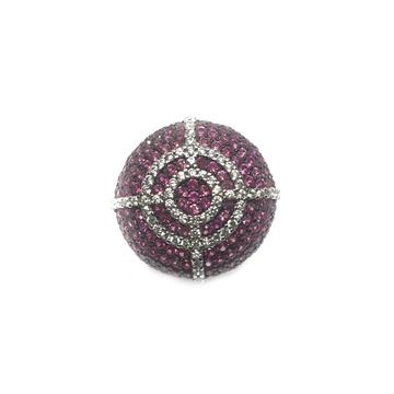 925 Sterling Silver Round Shaped Purple Diamond Ring MGA - LRS0604