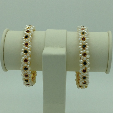 Pearls And Red, Green CZ Stones Flower Bangles JBG0087