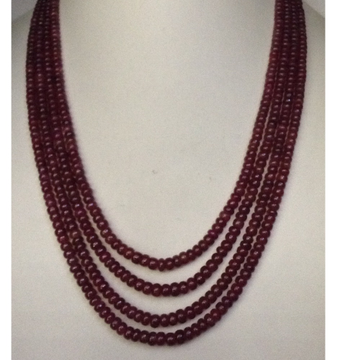 Natural red Ruby Round Beeds 4 Layers Necklace