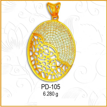 916 Gold CZ Oval Shape Simple Pendant PD-105