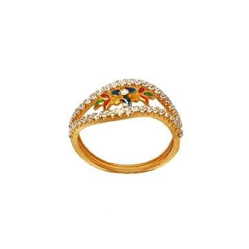 22K Gold Meenakari Ring MGA - LRG0051