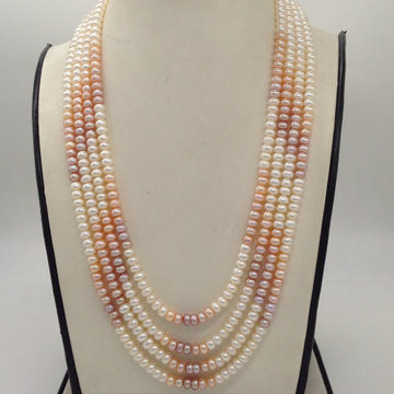 Freshwater Multicoloured Shaded Flat Pearls 4Layers Necklace JPM0312