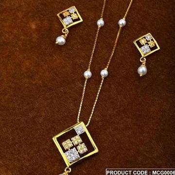 22Kt Gold Peral Chain Pset RH-Pset68