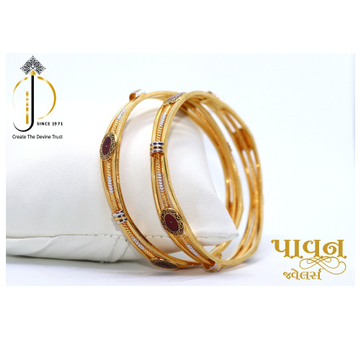 22KT / 916 Gold fancy red meenakari Bangles For La... by