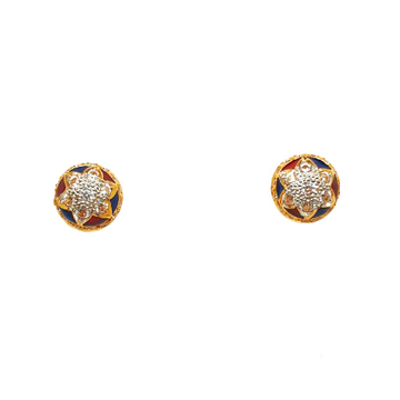 22K Gold Round Shaped Meenakari Tops Earrings MGA - BTG0322