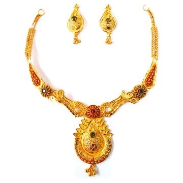 One gram gold forming necklace set mga - gfn003