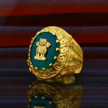 Mens Exclusive Heavy Weight Ashok Stambh Gold Desinger Ring-MHR44