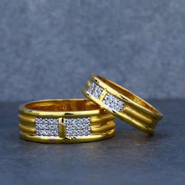 916 Engagement Cz Gold Couple Ring-CR28
