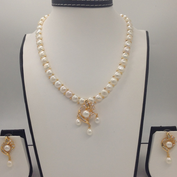 Whitecz and pearls pendentset with 1line buttonjali pearls mala jps0399