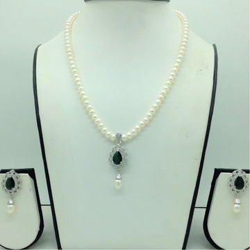 White,Green Cz PendentSet With 1Line FlatPearls...