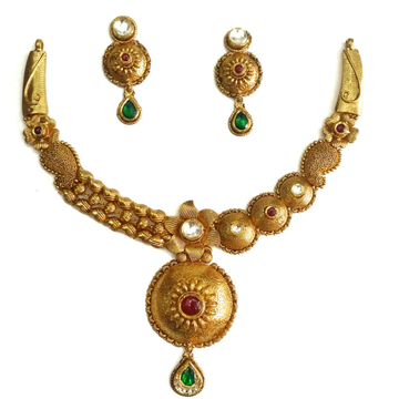 916 Gold Round Shape Designer Antique Necklace Set MGA - GN051