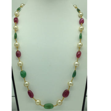 CreamSouth Sea Round Pearls With Ruby And Emerald Oval Tumbles Gold Taar Necklace JGT0006