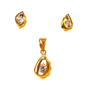 22K Gold Solitaire Diamond Pendant Set MGA - PTG0117