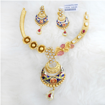 Gold Antique Jadtar Necklace Set RHJ 5260
