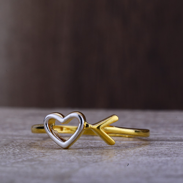 Ladies 916 Gold Heart Design Ring -LPR104