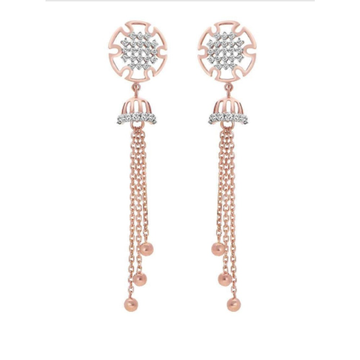 18k rose gold earring with hanging lines pj-e006