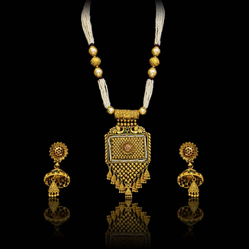 916 Gold Antique Necklace Set by S B ZAWERI