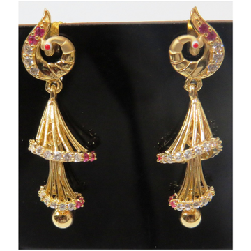 22kt gold cz casting 2 step earring jumkie