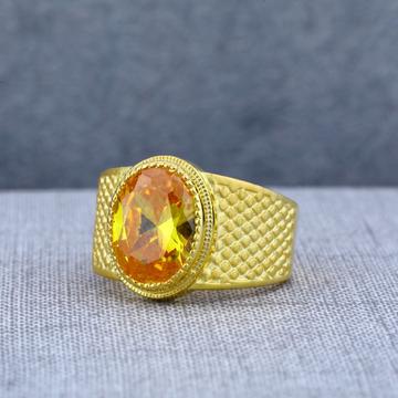 Mens Exclusive Orange Stone Plain Gold Solitaire Ring-MSR64