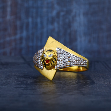 Mens Exclusive Lion 916 Gold Simple Ring-MR35
