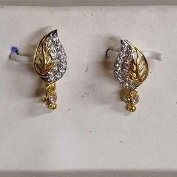 22kt/916 Leaf Shape Gold Diamond Earring