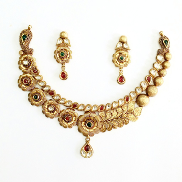 916 gold antique necklace set mga - gn020