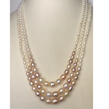 Freshwater Shaded Oval Graded Pearls Necklace 3 Layers