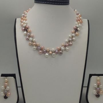 Freshwater Multi Colour Button Pearls ZigZag Necklace Set JPP1009